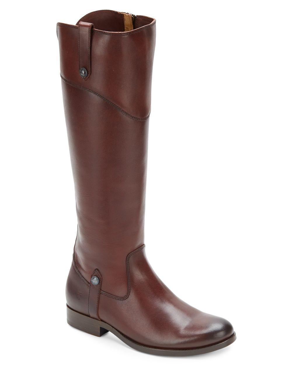 Frye Melissa Tall Leather Boots In Brown Lyst