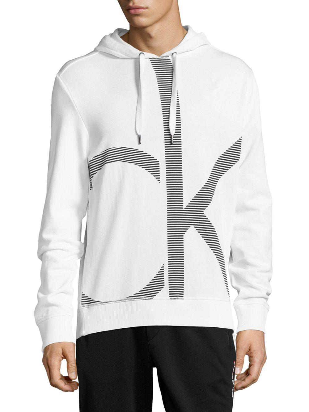calvin klein logo print cotton hoodie in white for men lyst. Black Bedroom Furniture Sets. Home Design Ideas