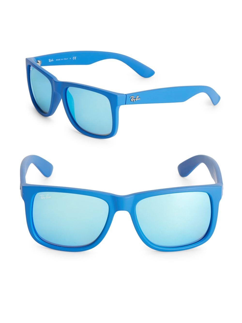 ba3efb0b3c4 Lyst - Ray-Ban Square Temple Logo Sunglasses in Blue