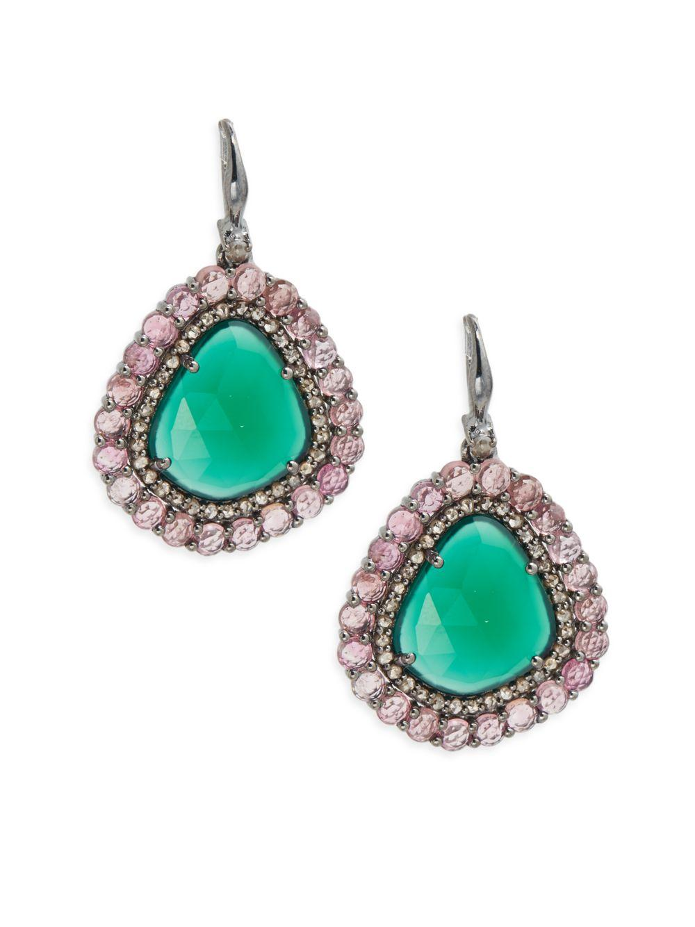 bavna jewelry bavna green onyx tourmaline pendant earrings in 9732