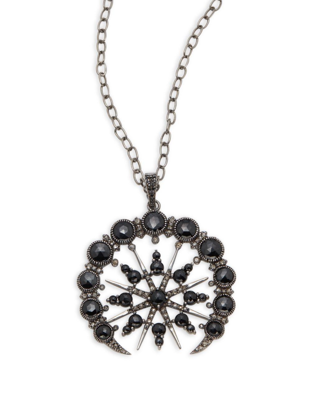 bavna jewelry bavna black spinel sterling silver pendant necklace in 6607