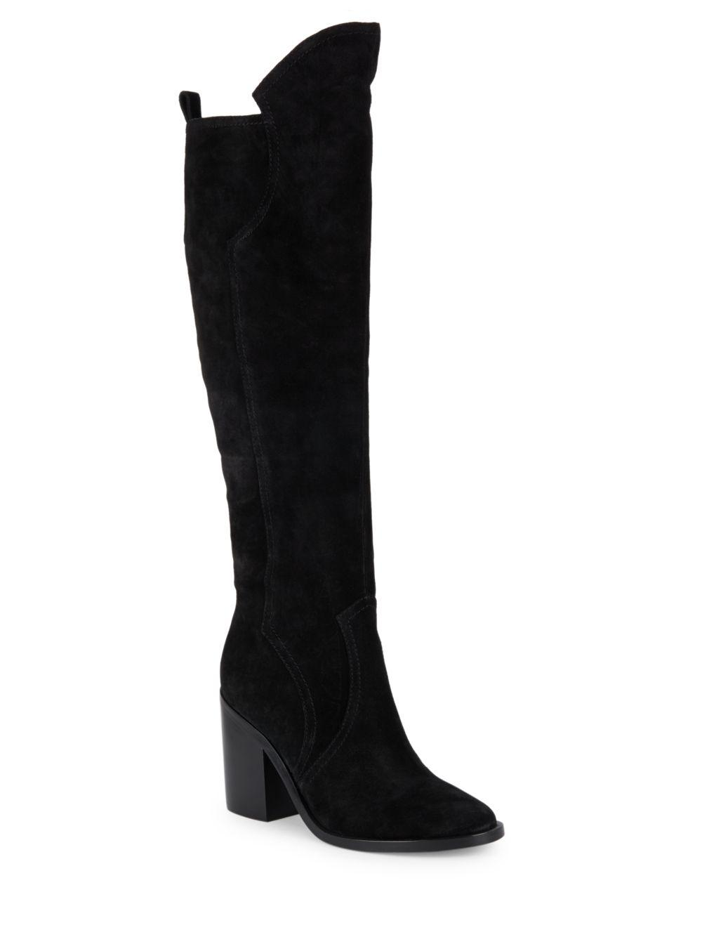 sigerson morrison suede pull on knee high boots in black