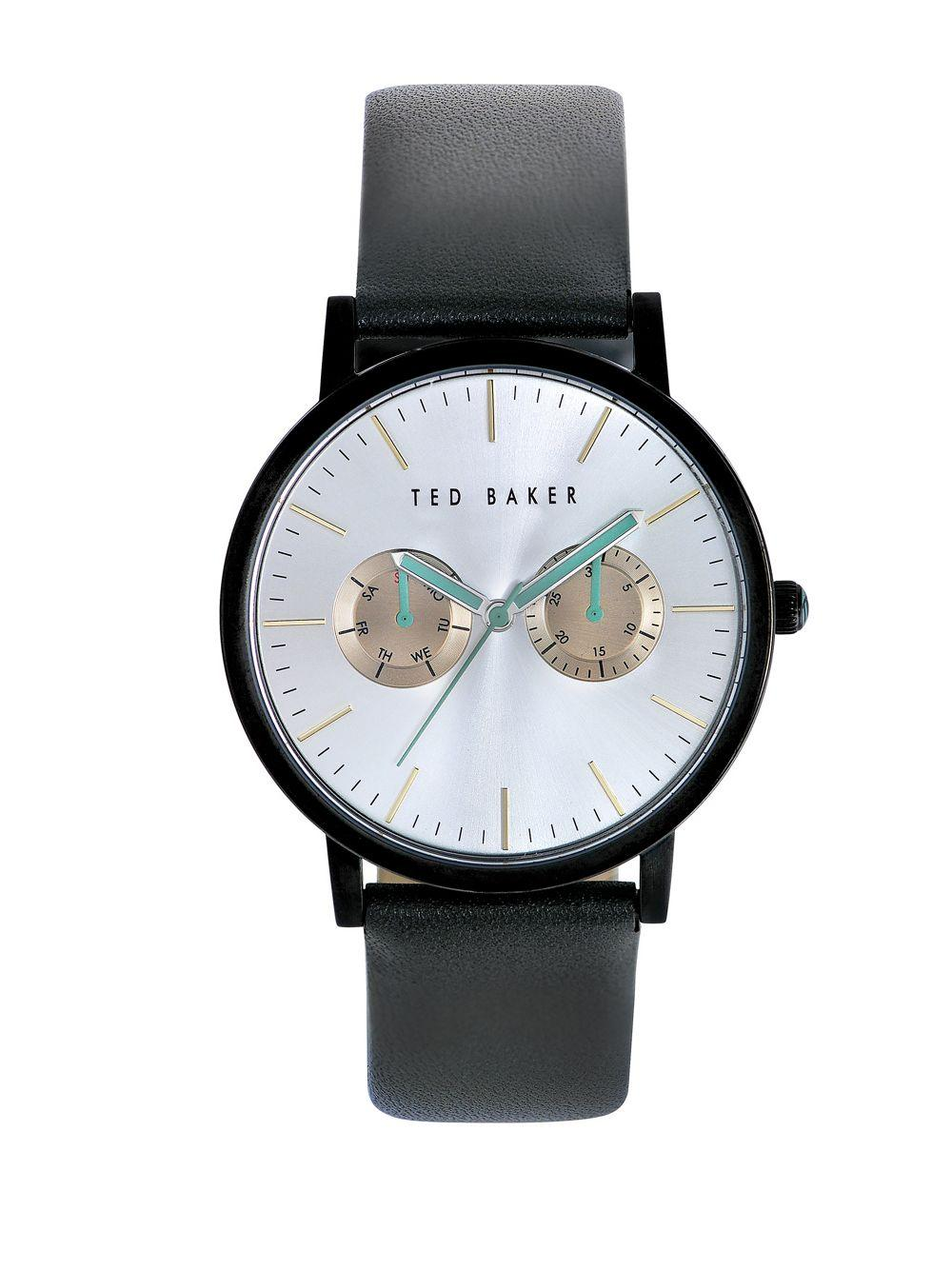 Ted baker smart casual black stainless steel and leather