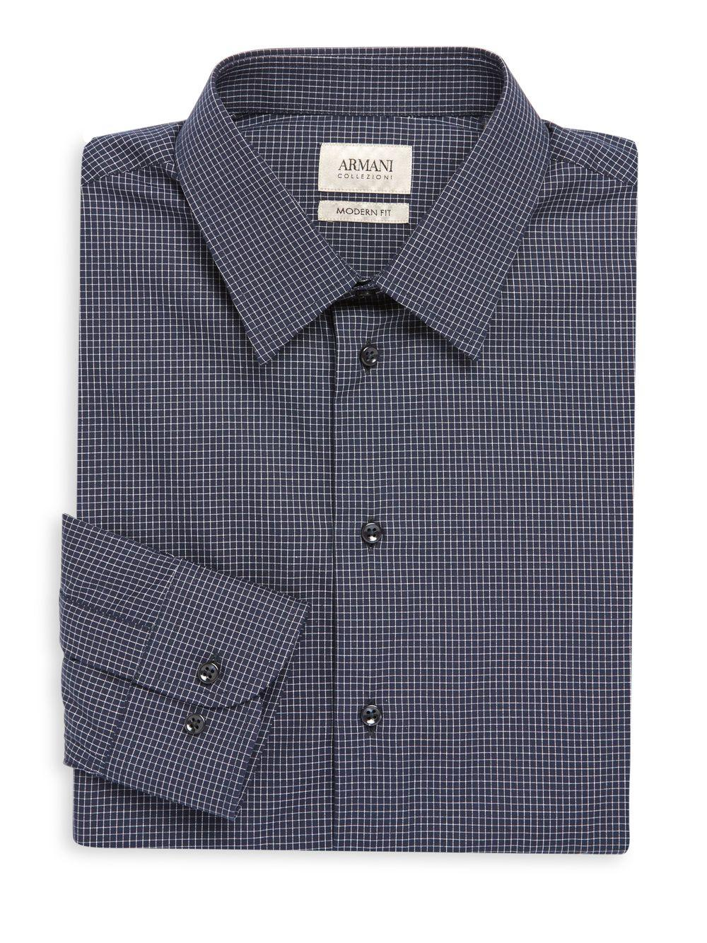 Armani micro checked modern fit dress shirt in blue for for Modern fit dress shirt