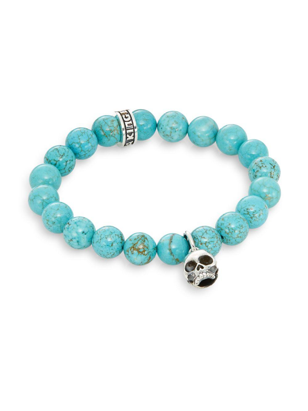 King baby studio turquoise sterling silver beaded skull for King baby jewelry sale