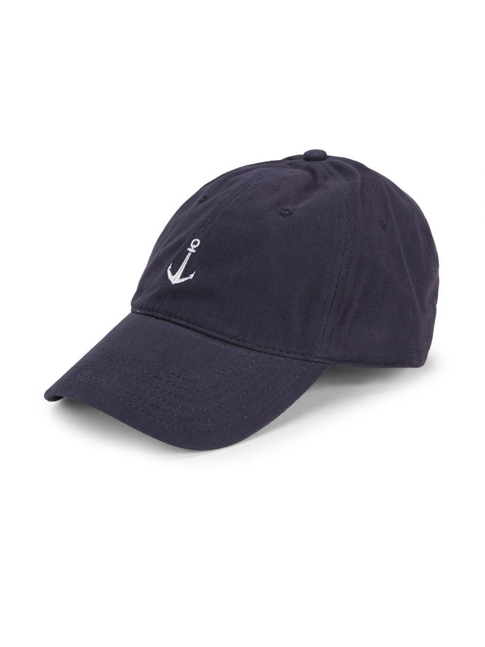 Lyst - Block Headwear Anchor Embroidered Cotton Baseball Cap in Blue ... 82d57331145a
