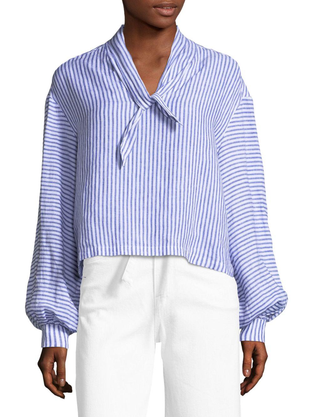 26dc4ea454b0 FRAME Striped Handkerchief Linen Blouse in Blue - Save 7% - Lyst