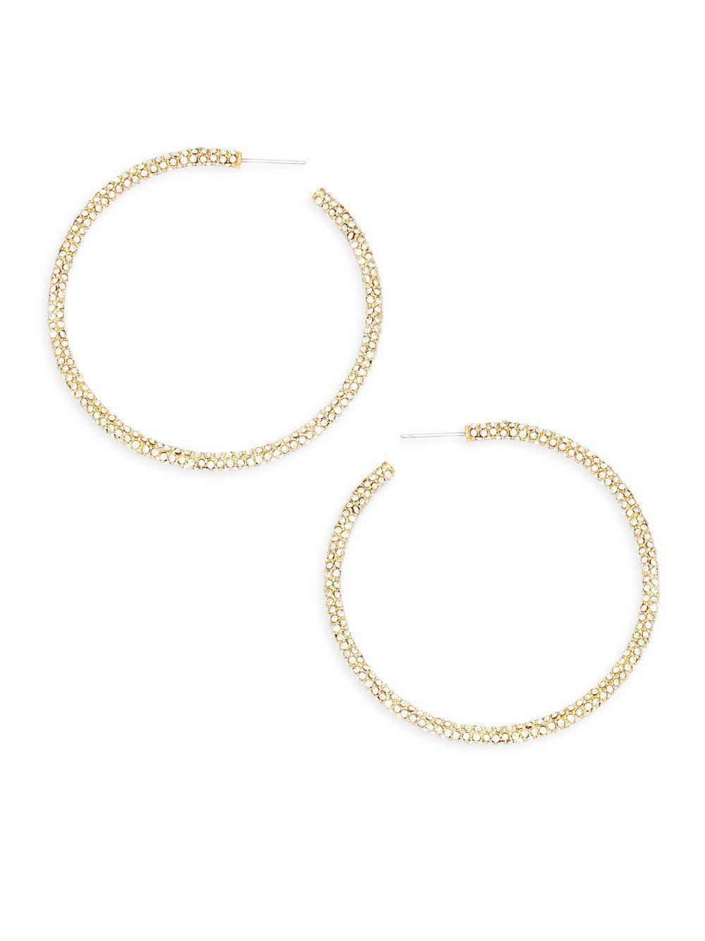 Adriana Orsini Women S Metallic Jumbo Pavé Hoop Earrings