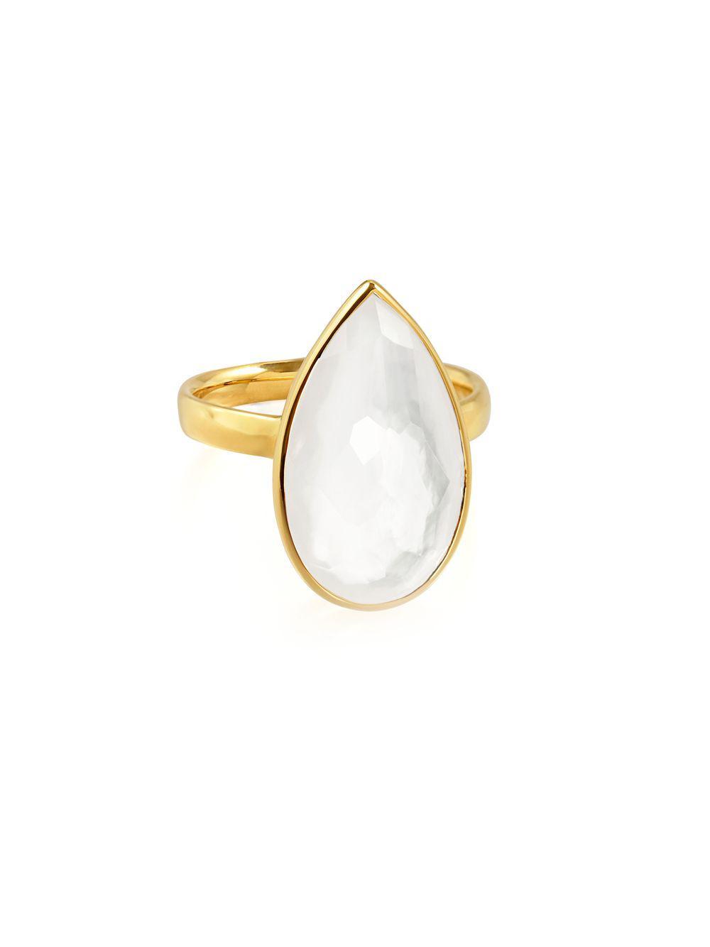 Ippolita 18k Rock Candy Single Medium Teardrop Ring in Citrine/Agate, Size 7