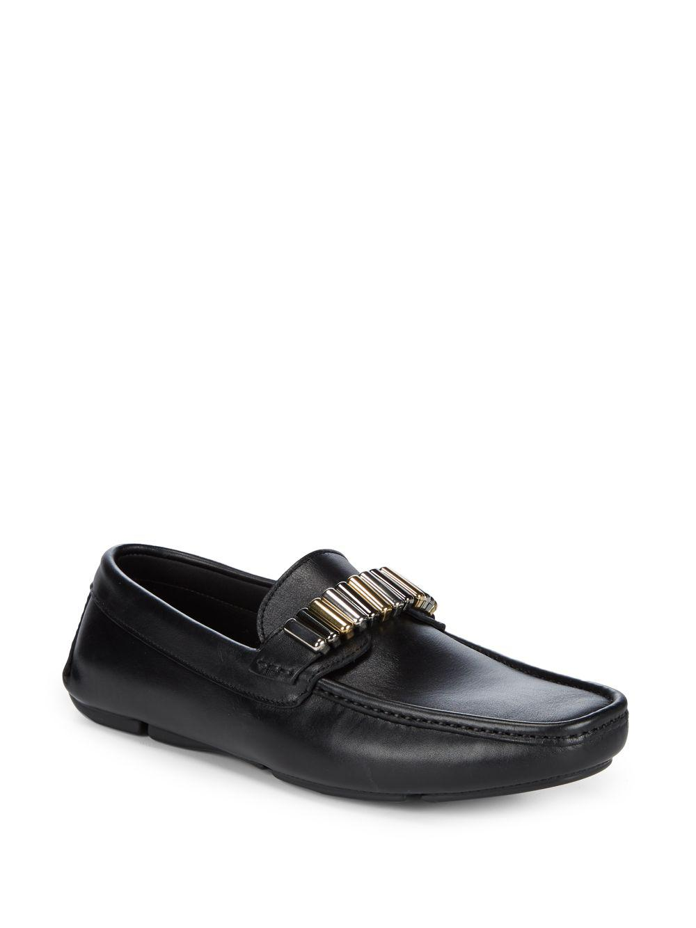 e50f9a7997 Versace Leather Hardware Driver Shoes in Black for Men - Save 26% - Lyst