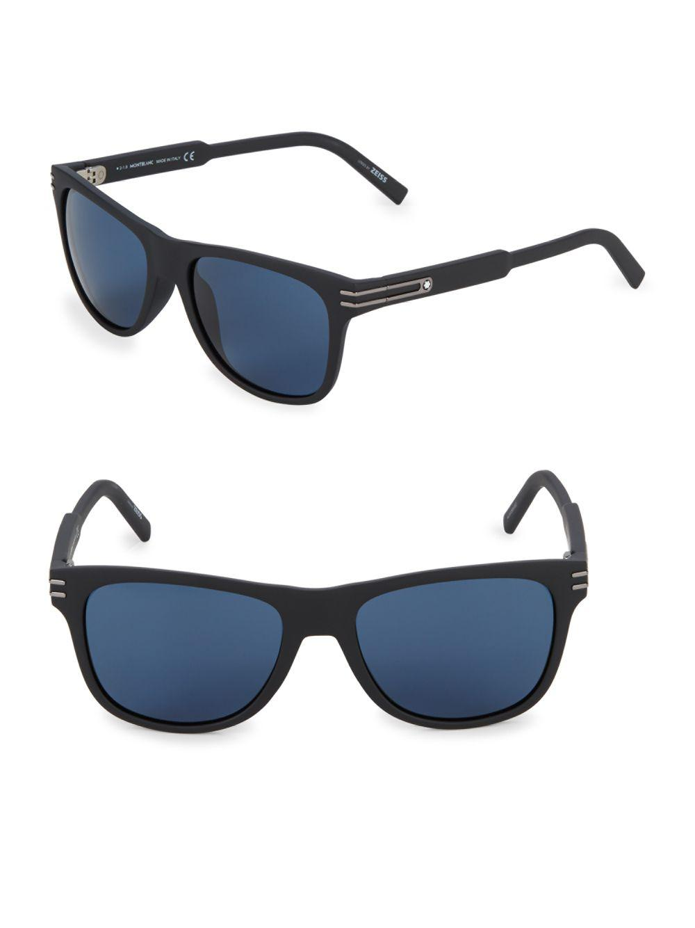 1faab8a2ab Lyst - Montblanc Injected 56mm Aviator Sunglasses in Black for Men