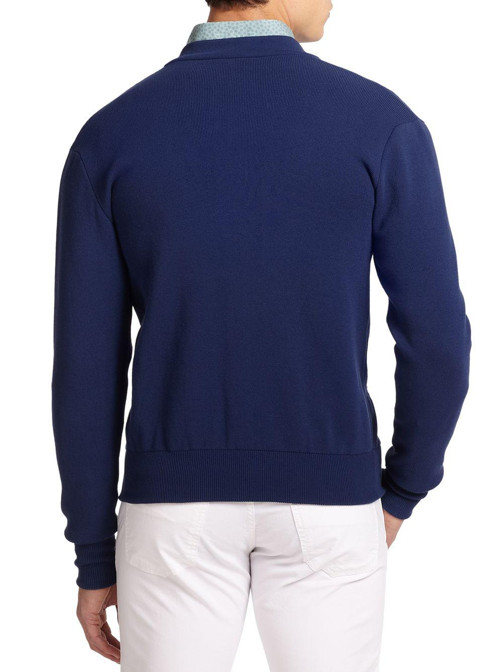 Incotex Slim-fit Cotton Cardigan Sweater in Blue for Men | Lyst