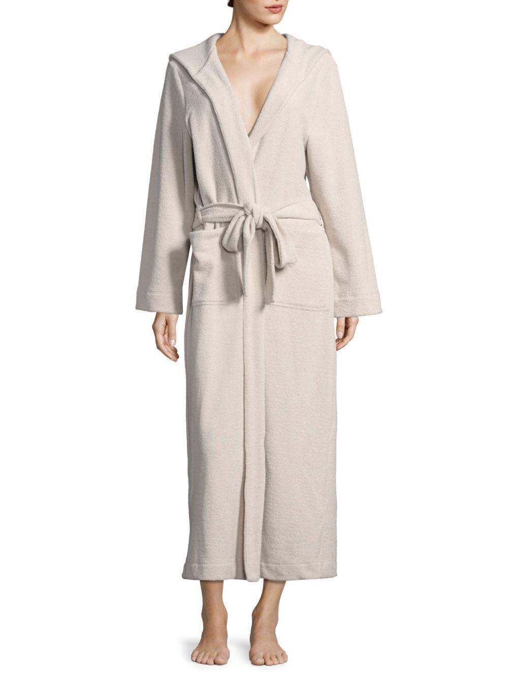 8759312f81 Lyst - Hanro Women s Terry Long Hooded Robe - White - Size Xs