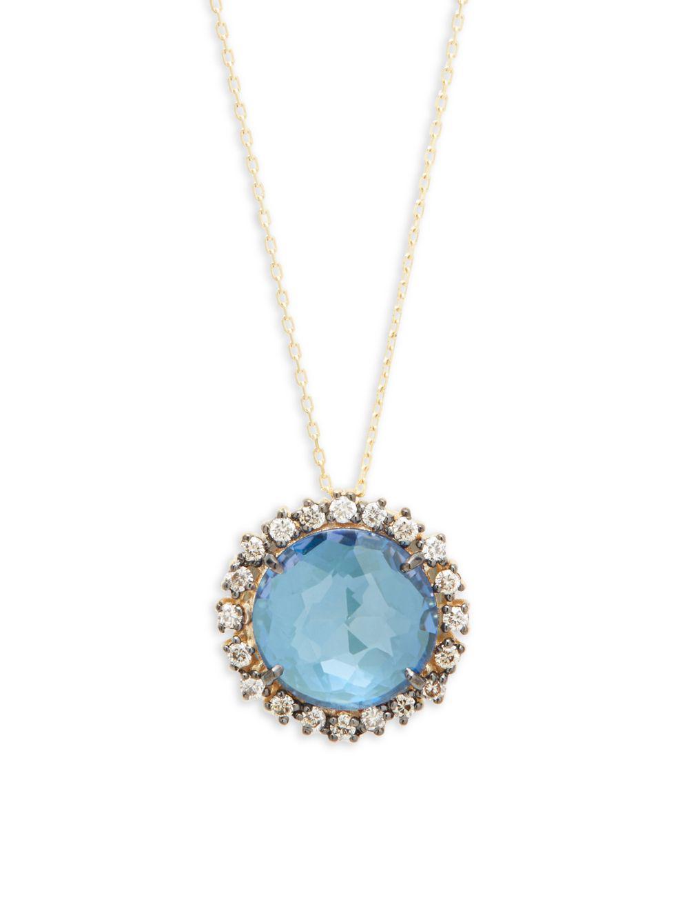 Suzanne Kalan 14k Blue Topaz & Diamond Pendant Necklace ciayMGTJB