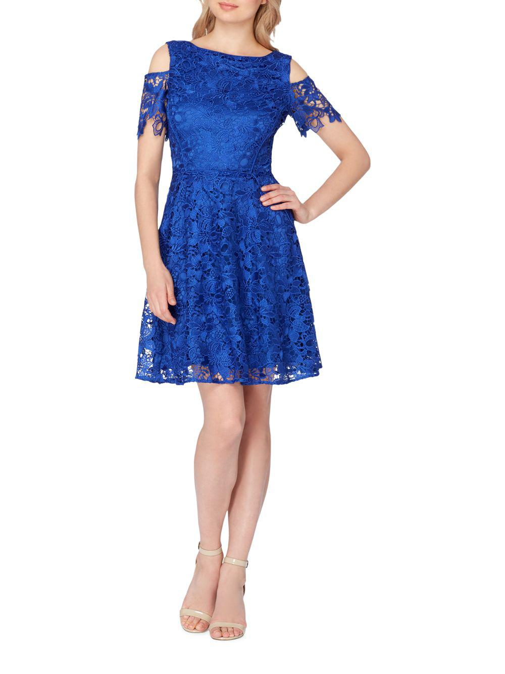 Lyst Tahari Cold Shoulder Lace Fit Amp Flare Dress In Blue