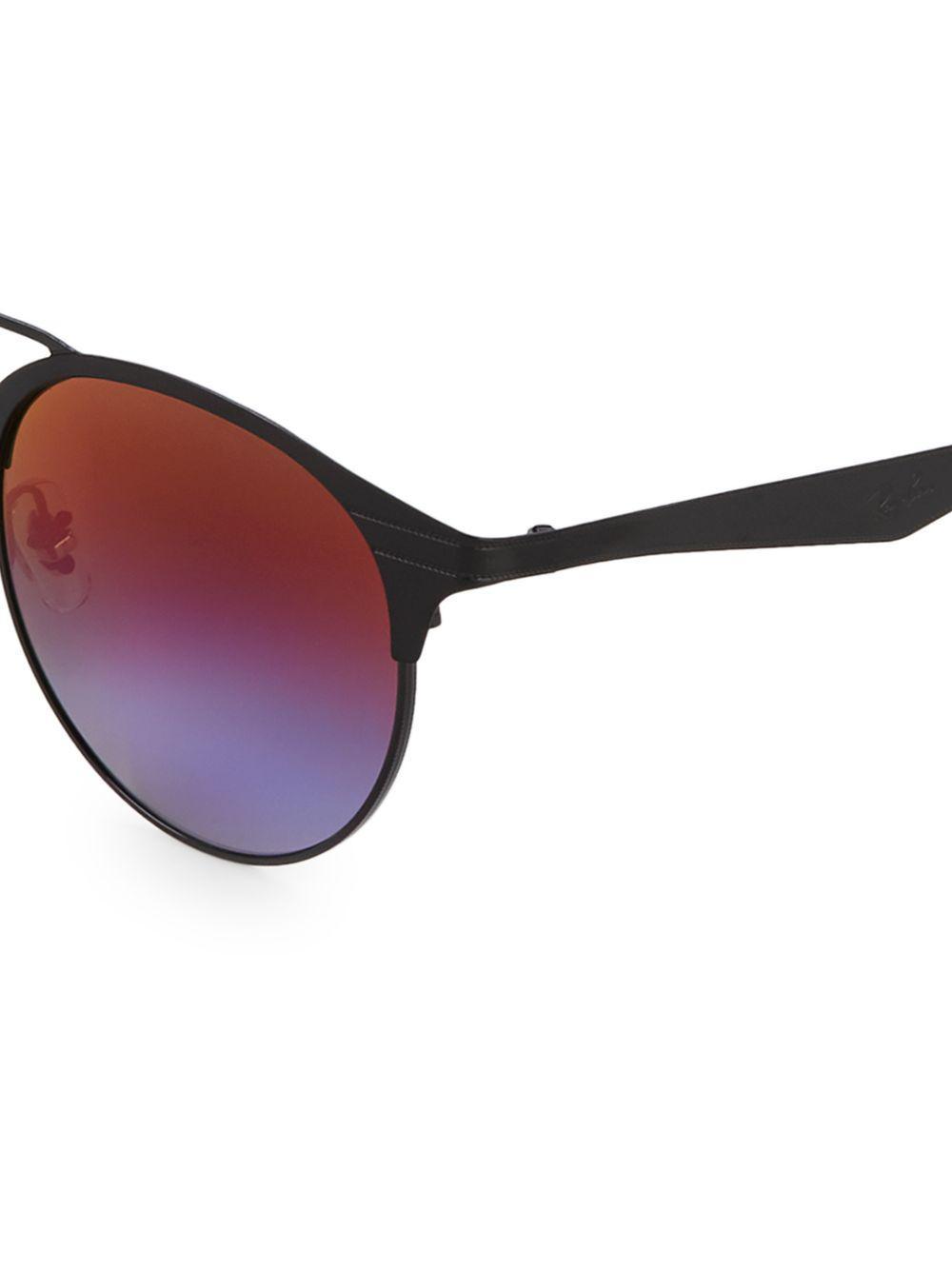 e343d589fae Ray-Ban - Black 51mm Round Browline Sunglasses - Lyst. View fullscreen