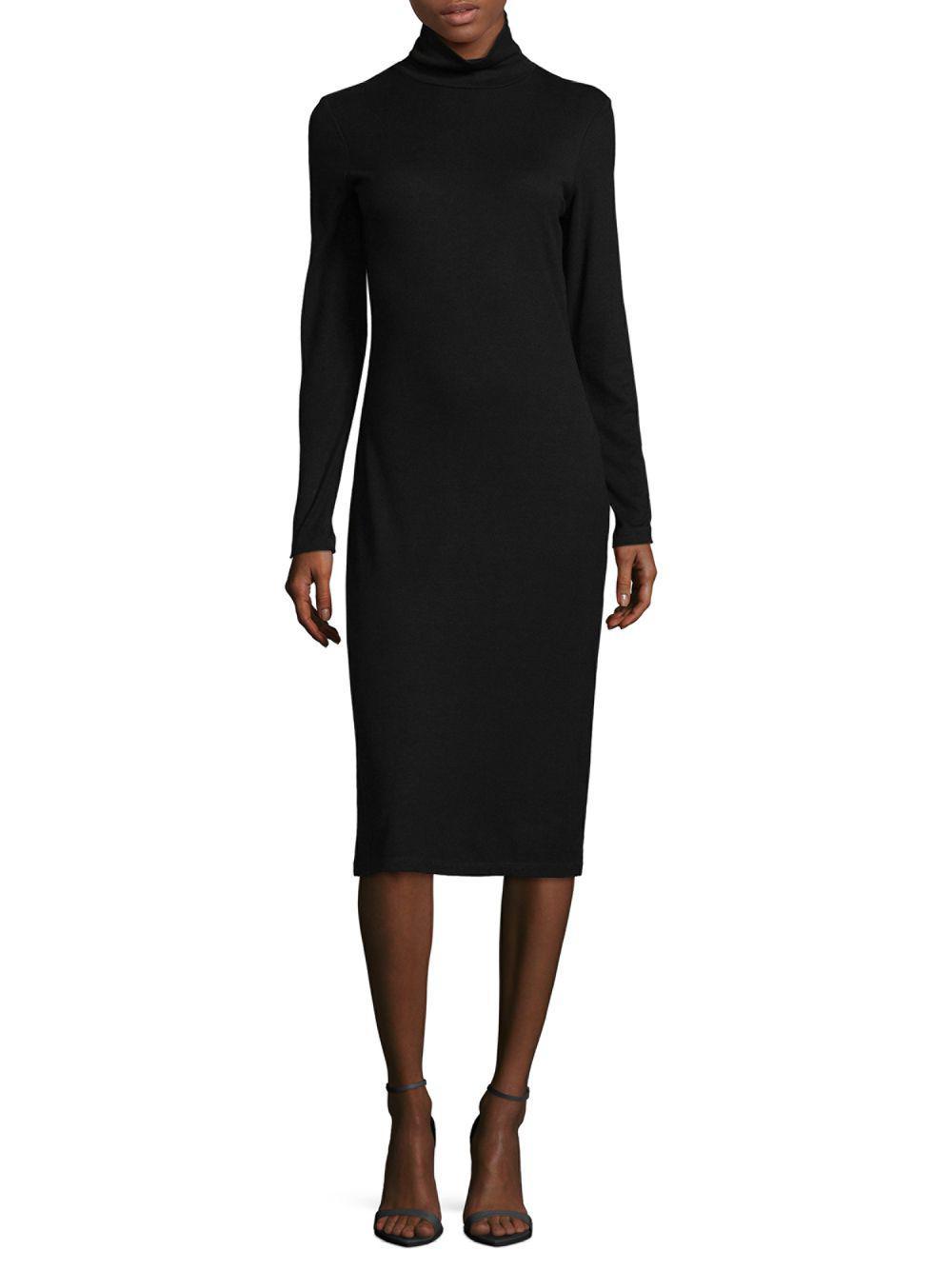 ef1911077a1b Lyst - James Perse Turtleneck Midi Dress in Black