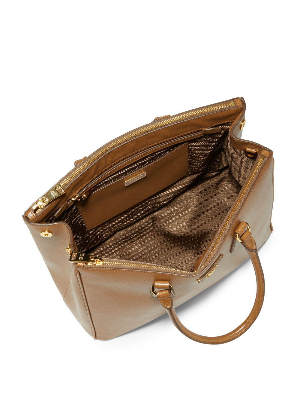 77de648f6b Lyst - Prada Saffiano Medium Leather Satchel in Brown