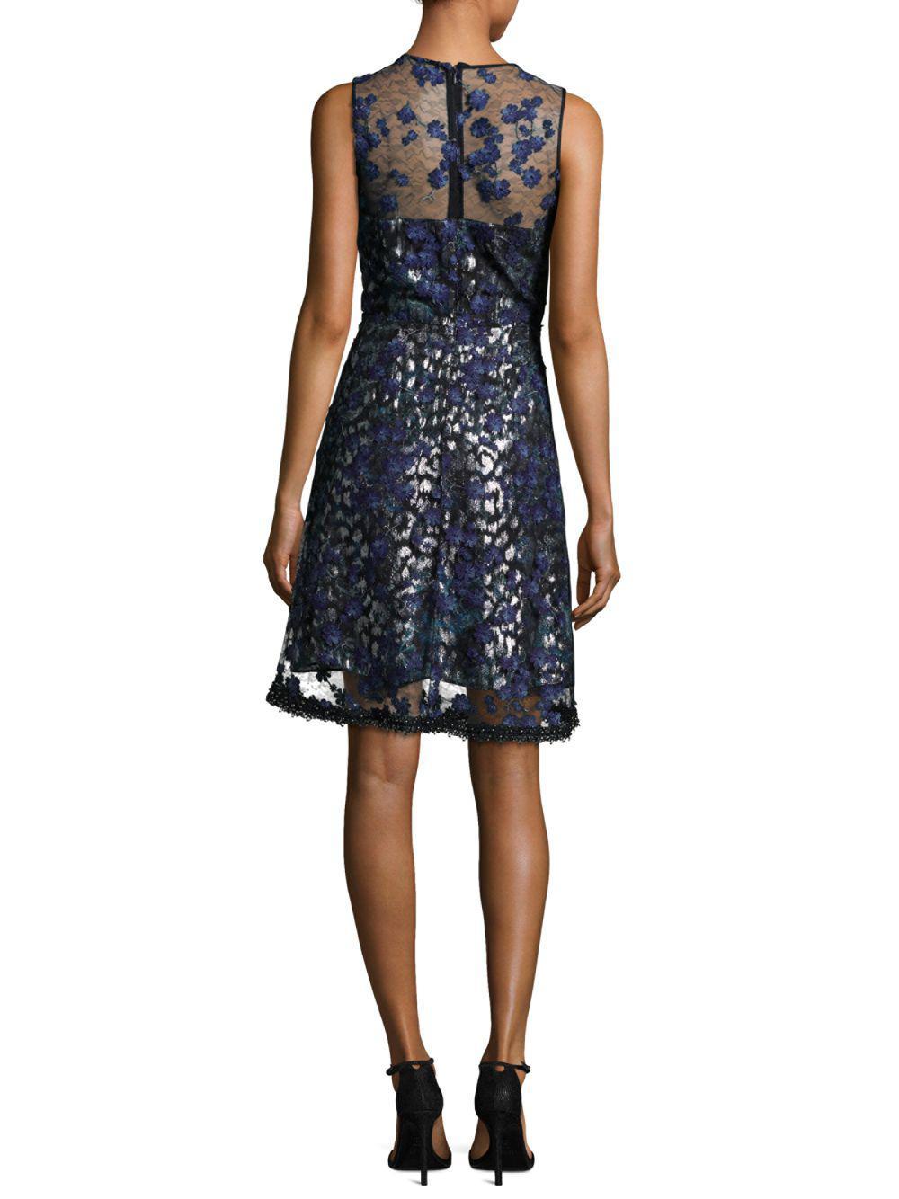 93af3a1f708d Elie Tahari Olive Embroidered Illusion Dress in Blue - Lyst