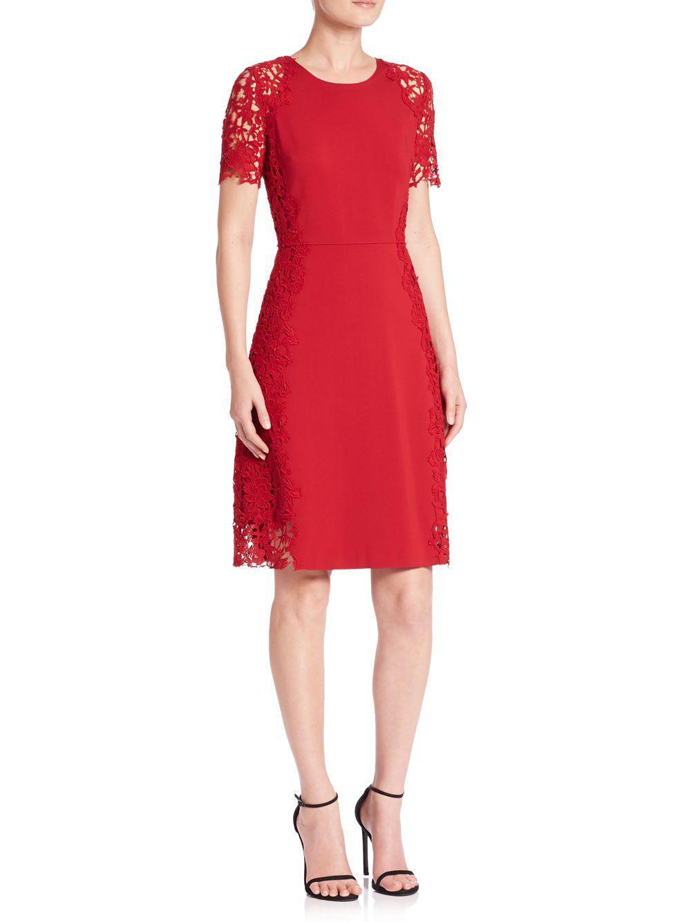 43259ad8ef7a Lyst - Elie Tahari Hudson Lace Trim A-line Dress in Red