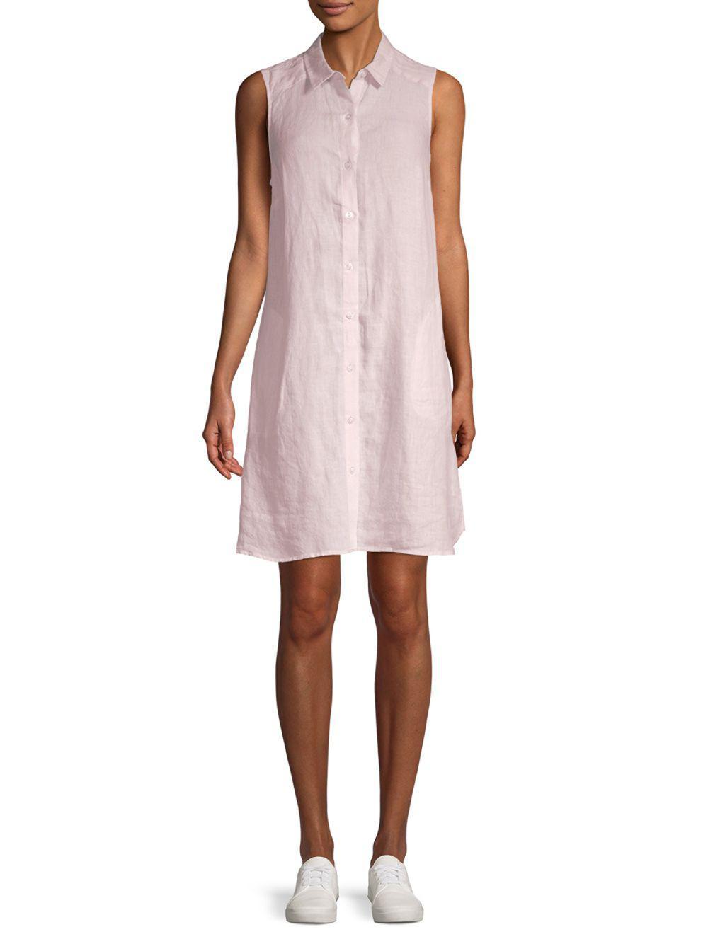75fce55177 Lyst - Saks Fifth Avenue Sleeveless Linen Shirt Dress in Pink