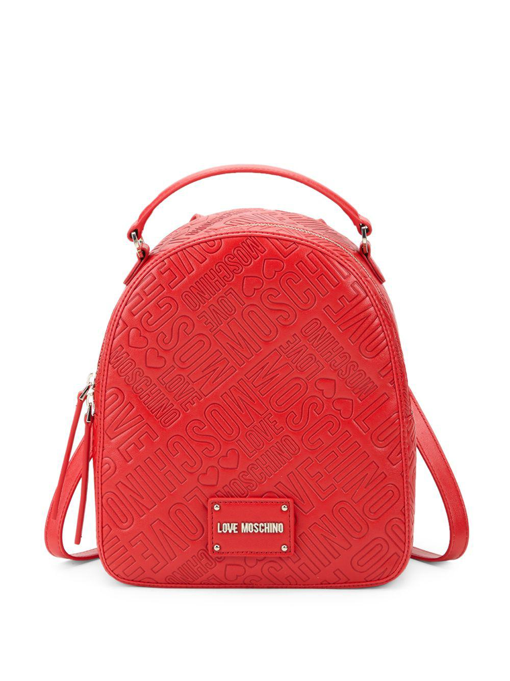 7a75807386483 Love Moschino - Red Logo Embossed Backpack - Lyst. View fullscreen