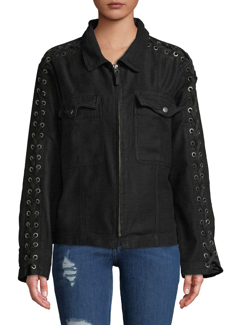 023583a6d5 Lyst - Free People Faye Collared Cotton Jacket in Black