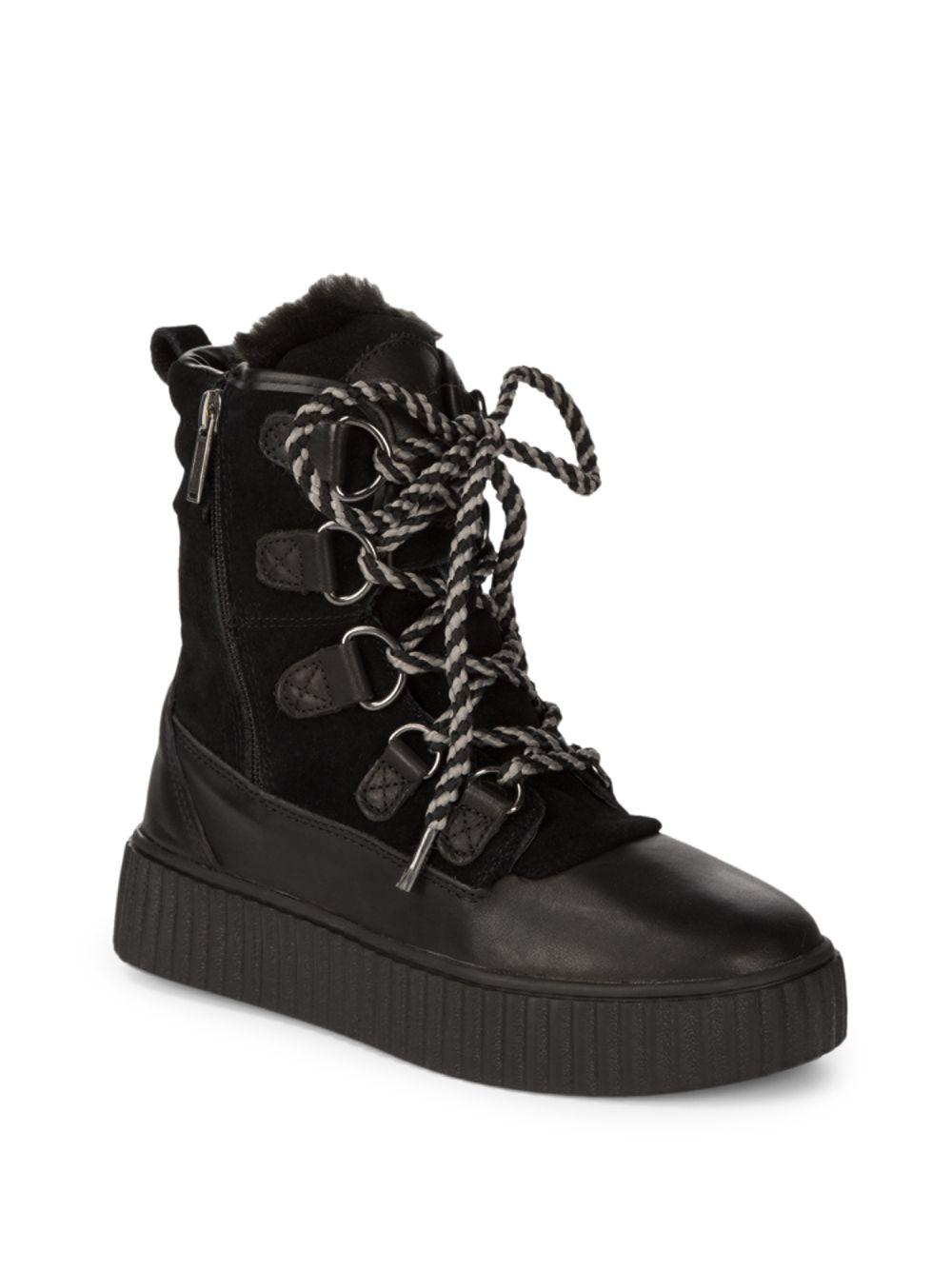 Pajar. Women's Black Leather Lace-up Boots