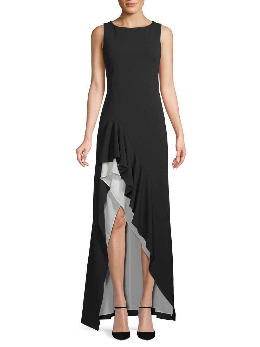 526a38b744c0 Lyst - Calvin Klein Sleeveless Ruffled Gown in Black