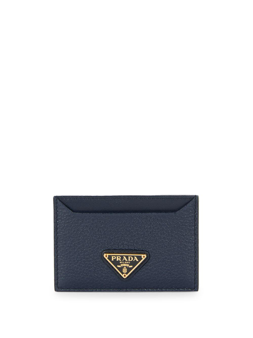 532ebce0ee Prada Logo Grained Leather Card Case in Blue - Lyst