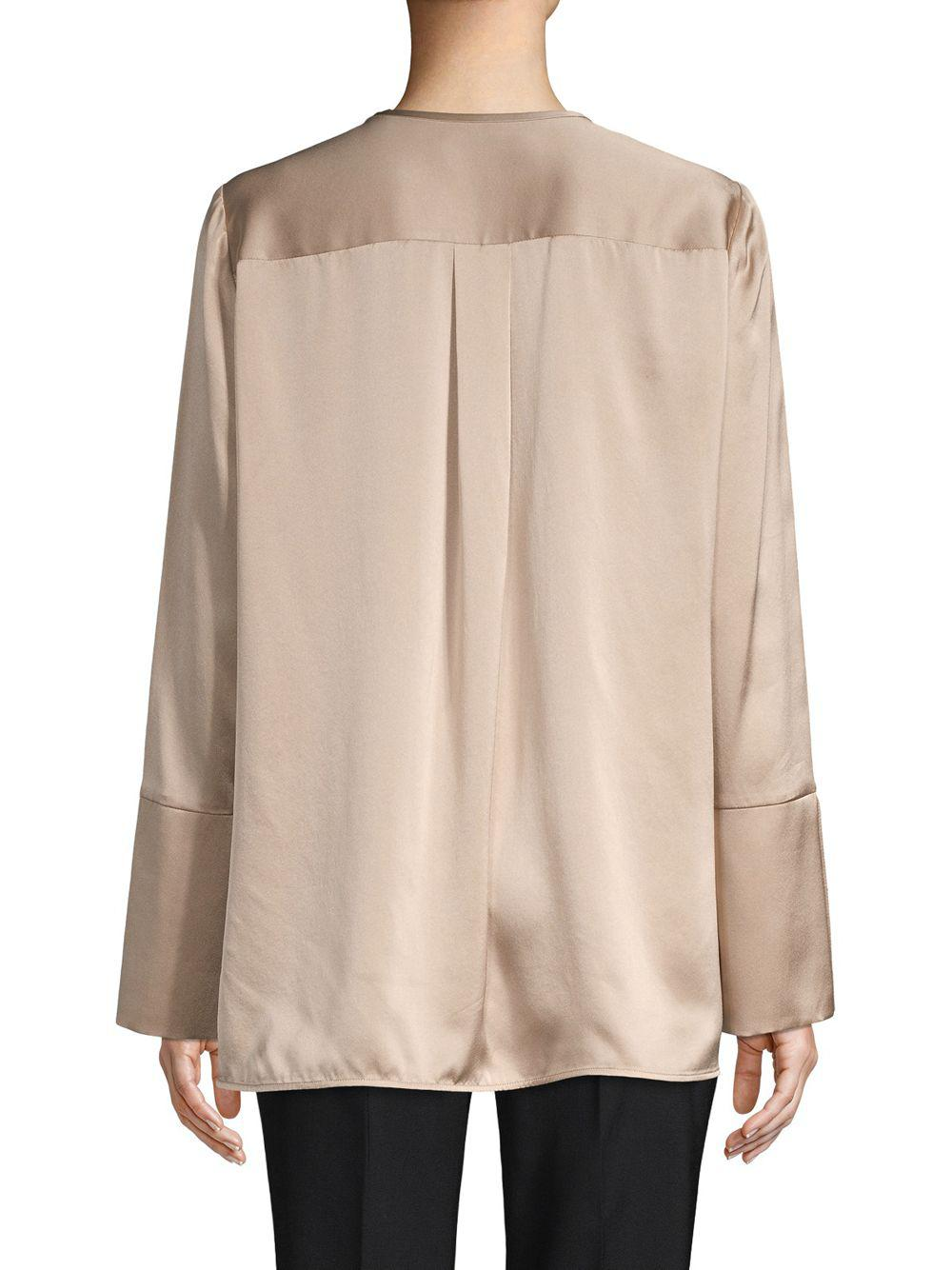 590491880543a1 Lyst - Lafayette 148 New York Georgie Silk Blouse in Natural