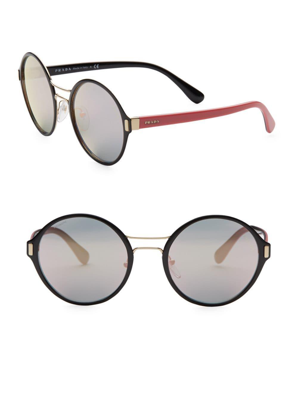 487ff54ca3 Lyst - Prada 54mm Mirrored Round Sunglasses in Metallic
