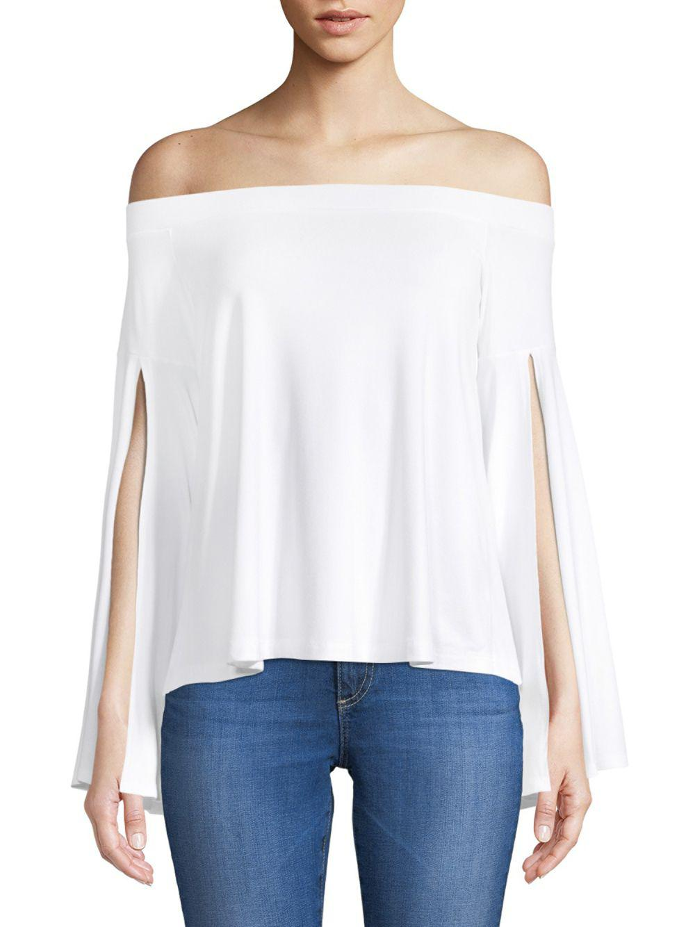 d0d2679be7af3 Lyst - Susana Monaco Slit Off-the-shoulder Top in White