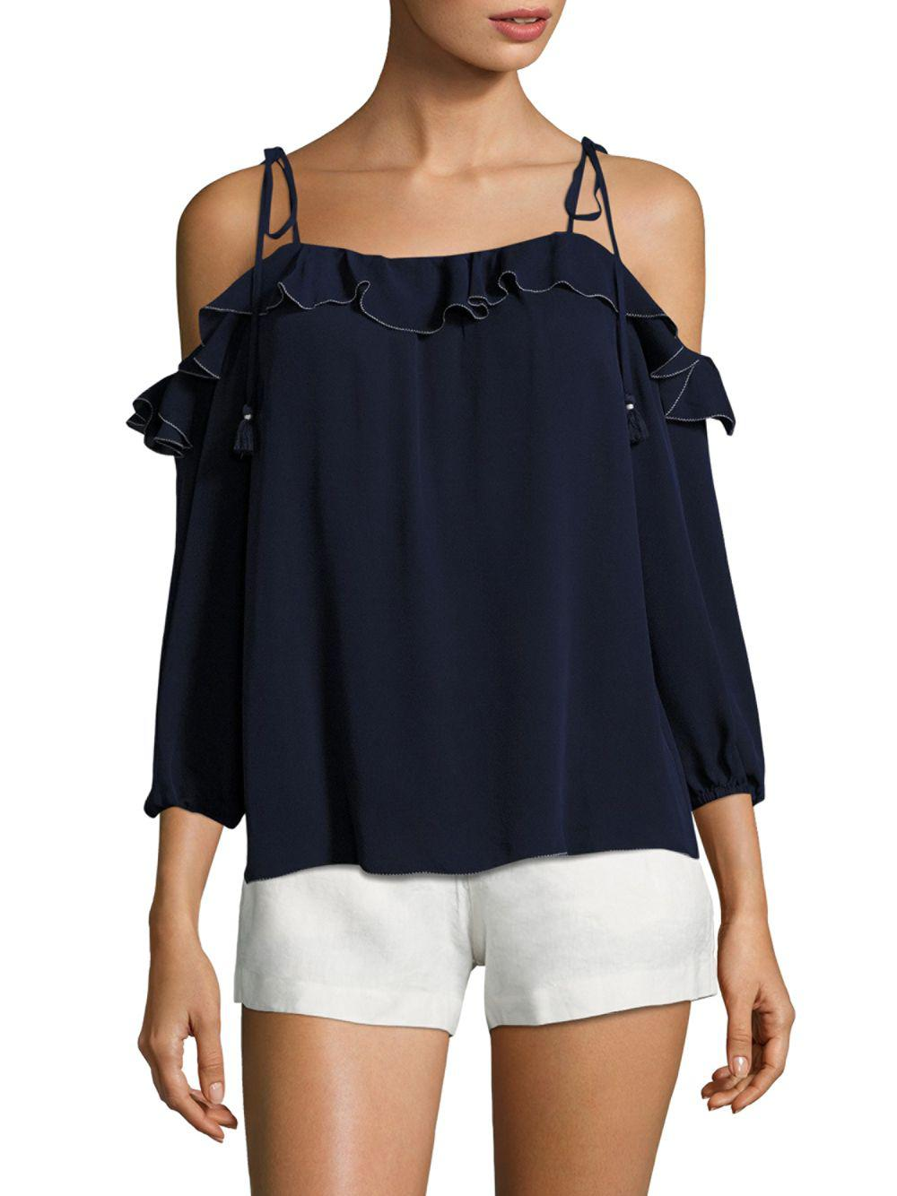 a2115792b3009a Lyst - Joie Eukene Ruffled Silk Cold Shoulder Blouse in Blue