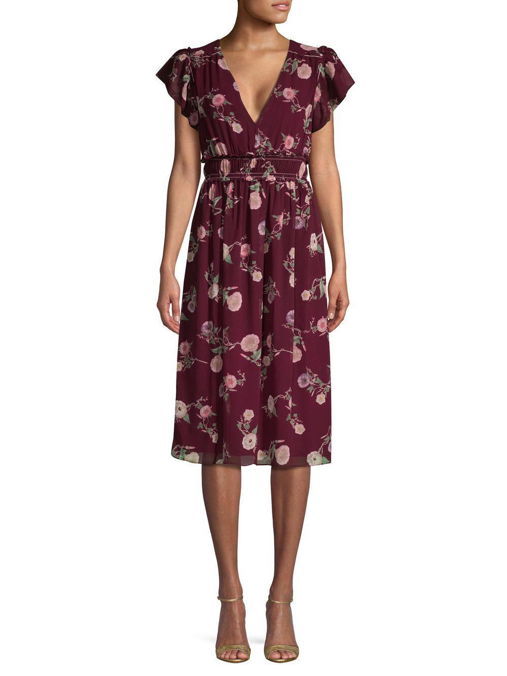 Lyst - Max Studio Floral Flutter-sleeve Knee-length Dress in Red ... 240f302b6