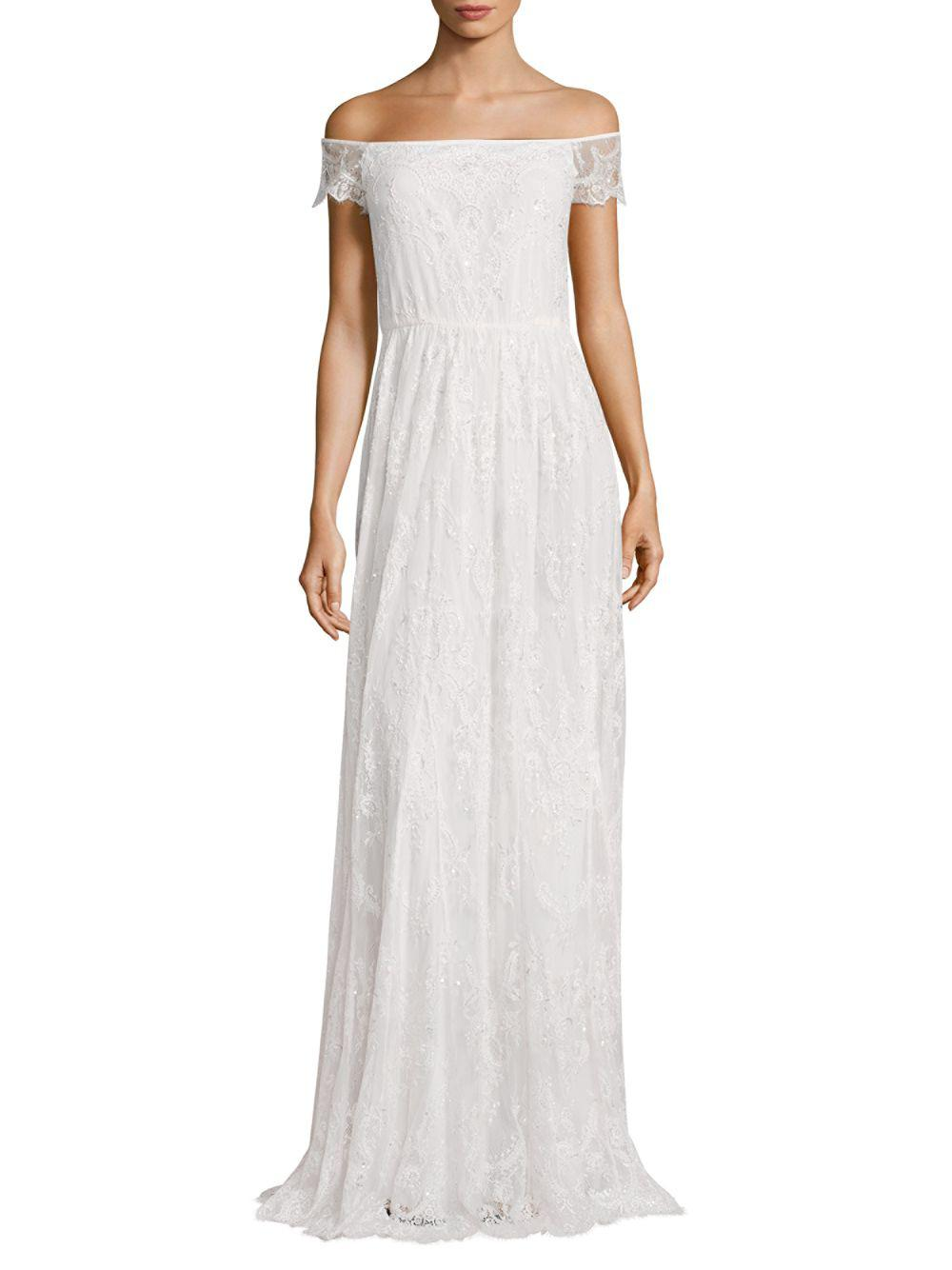 Lyst - Alice + Olivia Aurelia Embellished Gown in White - Save ...