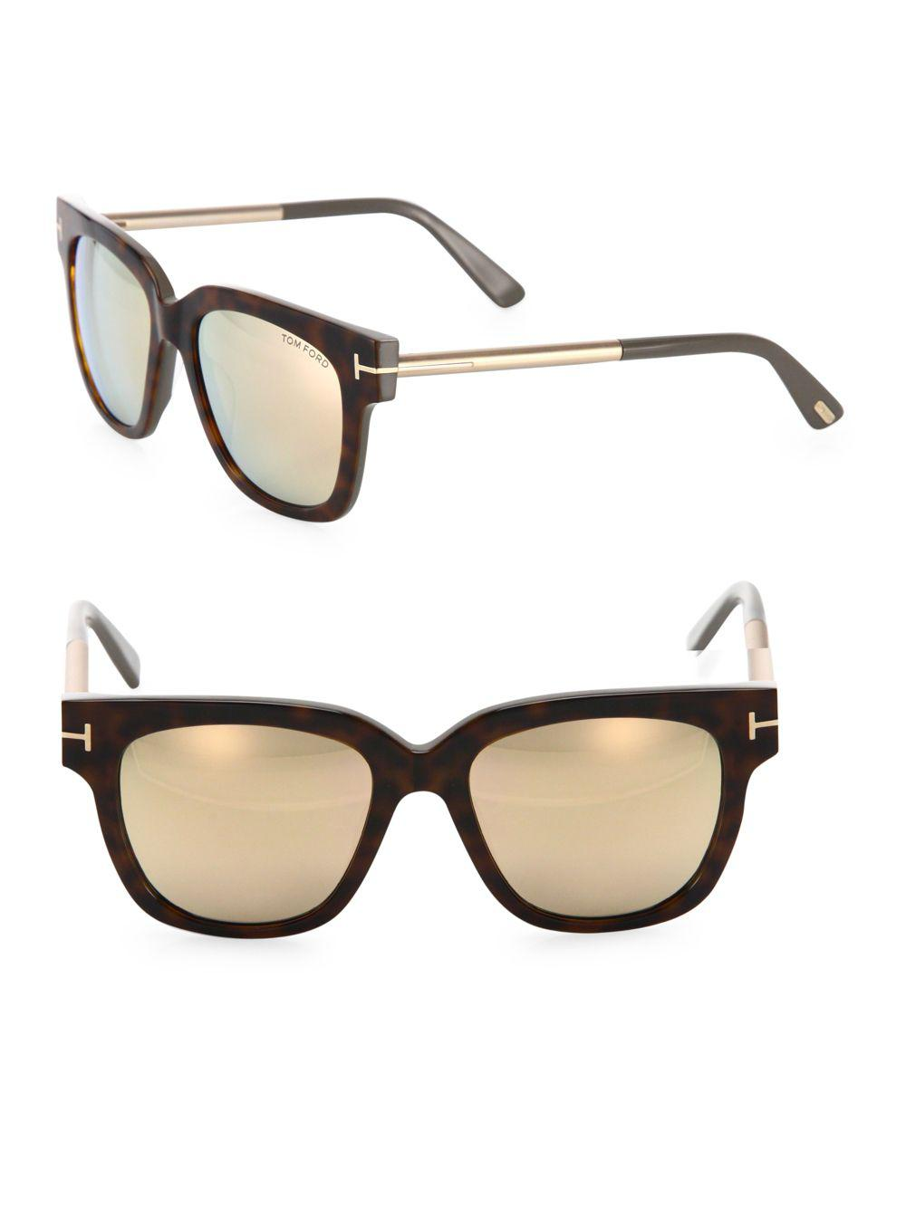 feea7cdba020 Lyst - Tom Ford Tracy 53mm Mirrored Soft Square Sunglasses in Brown
