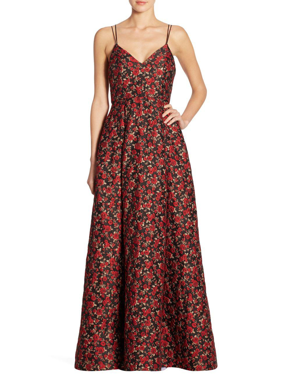 Lyst - Alice + Olivia Marilla Floral Gown in Red - Save ...