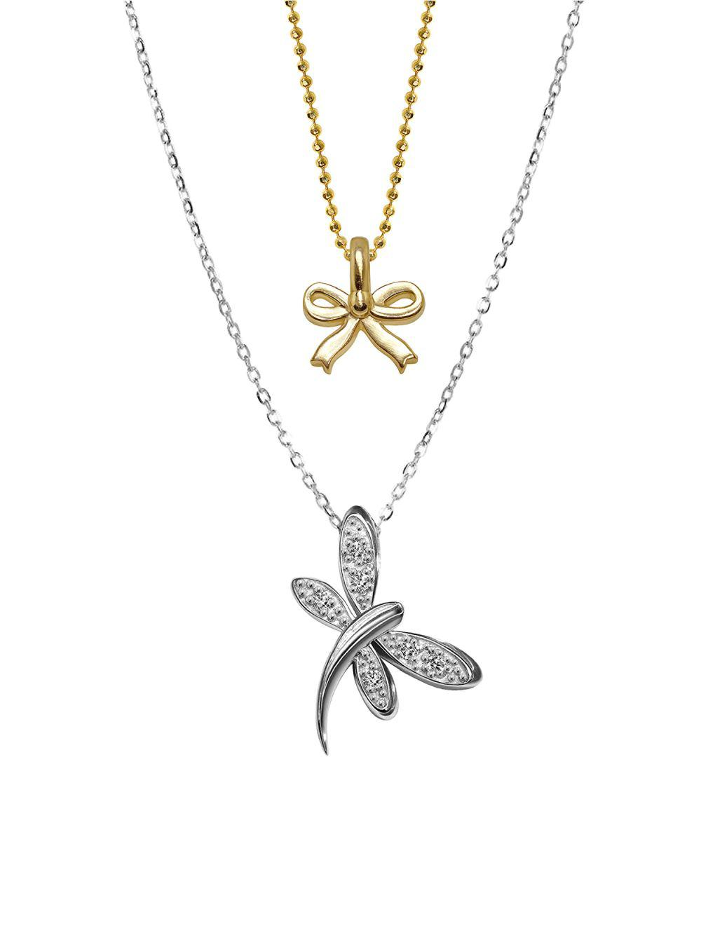 Alex woo 14k white gold dragonfly and mini yellow gold bow pendant white gold dragonfly and mini yellow gold bow pendant necklace view fullscreen aloadofball Gallery