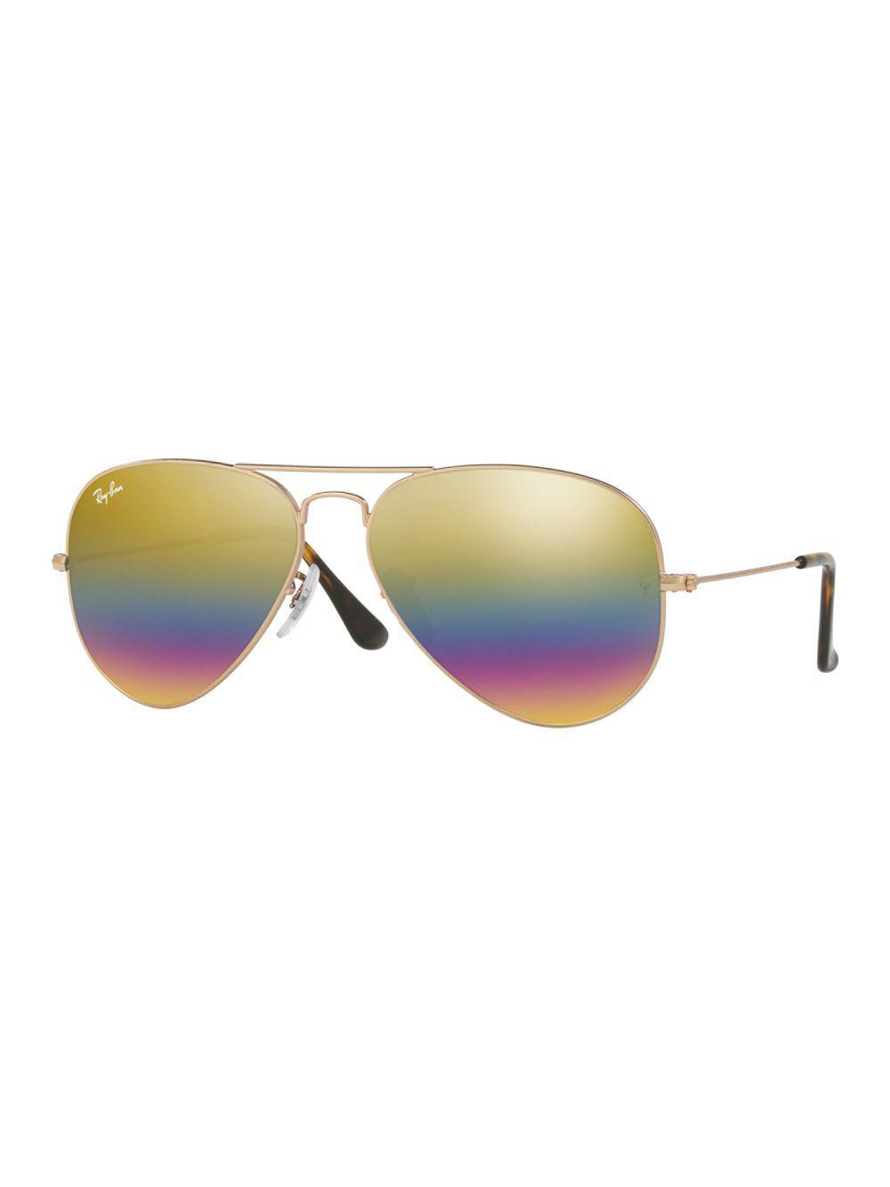 38dd2fab4a Ray-Ban 14mm Flash Aviator Sunglasses in Yellow - Lyst