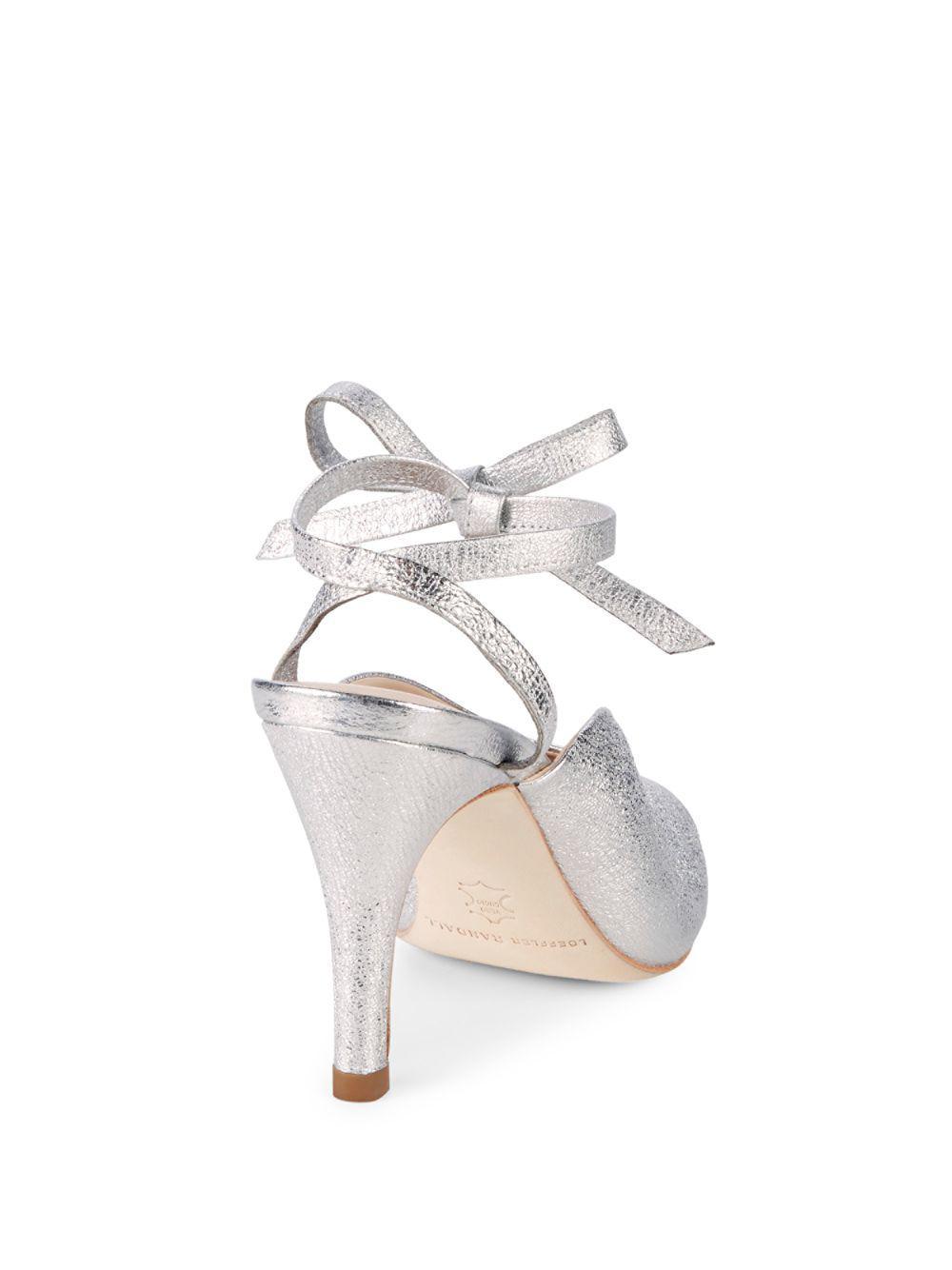 1cb58ecaa94 Loeffler Randall Mila Ankle Wrap Leather Sandals in Metallic - Lyst