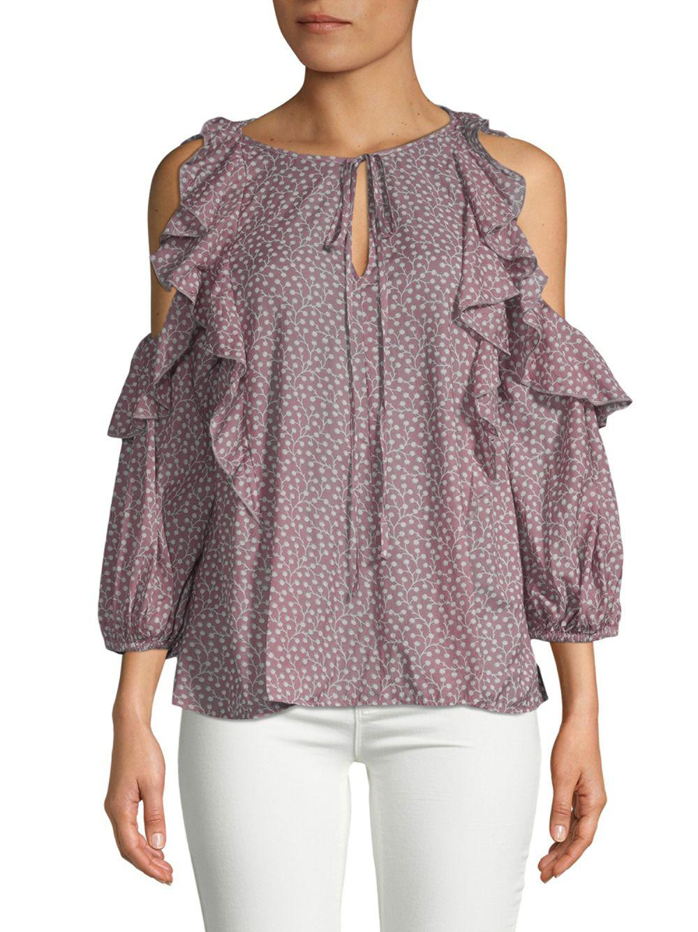 842e2385b86fc8 French Connection. Women s Elao Voile Cold-shoulder Ruffle Blouse