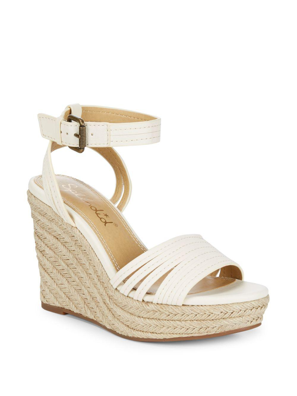 fb13639c8a2 Splendid Flemming Leather Espadrille Wedges in White - Lyst