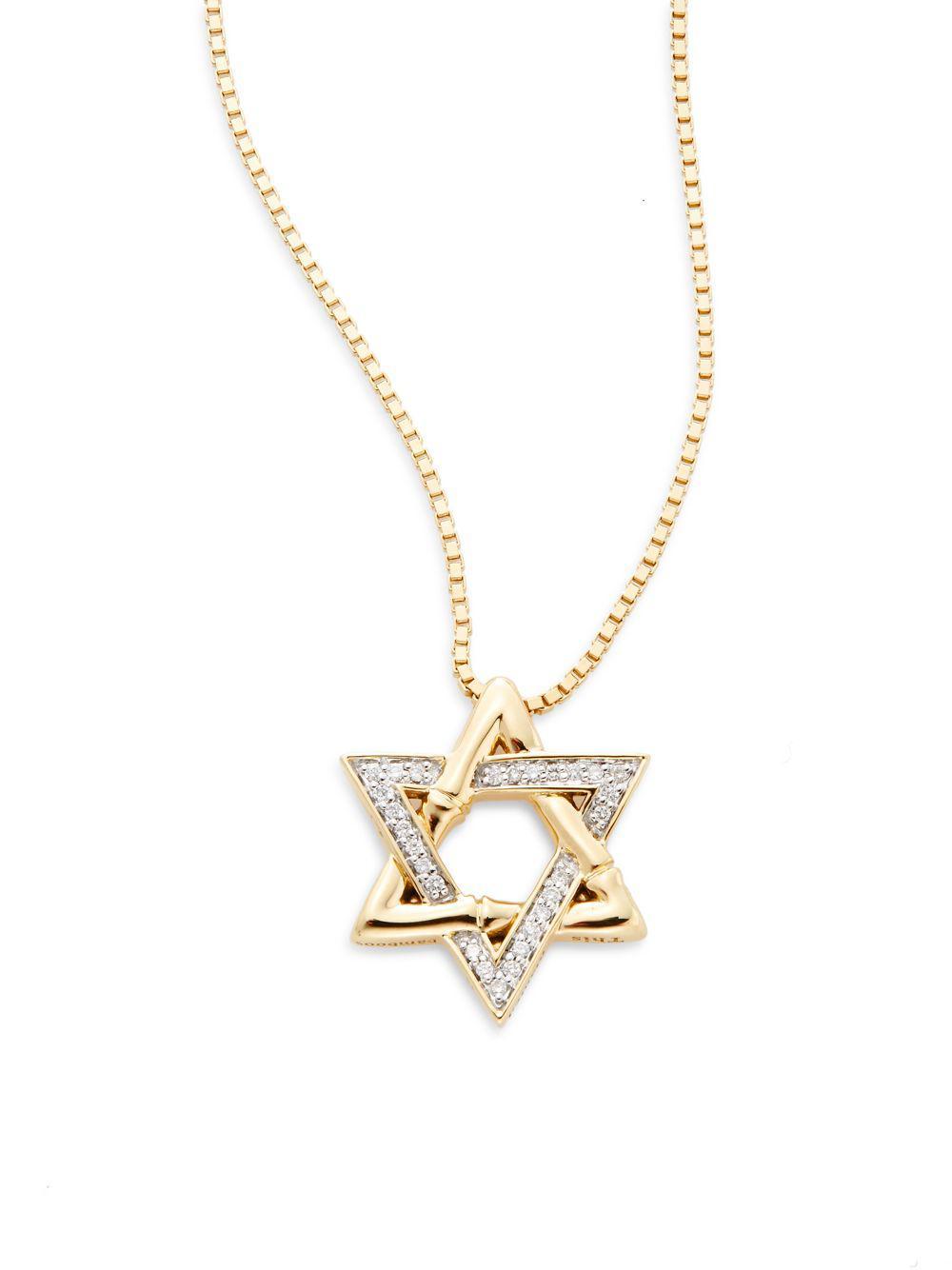 Lyst john hardy bamboo diamond 18k yellow gold star of david gallery aloadofball Images