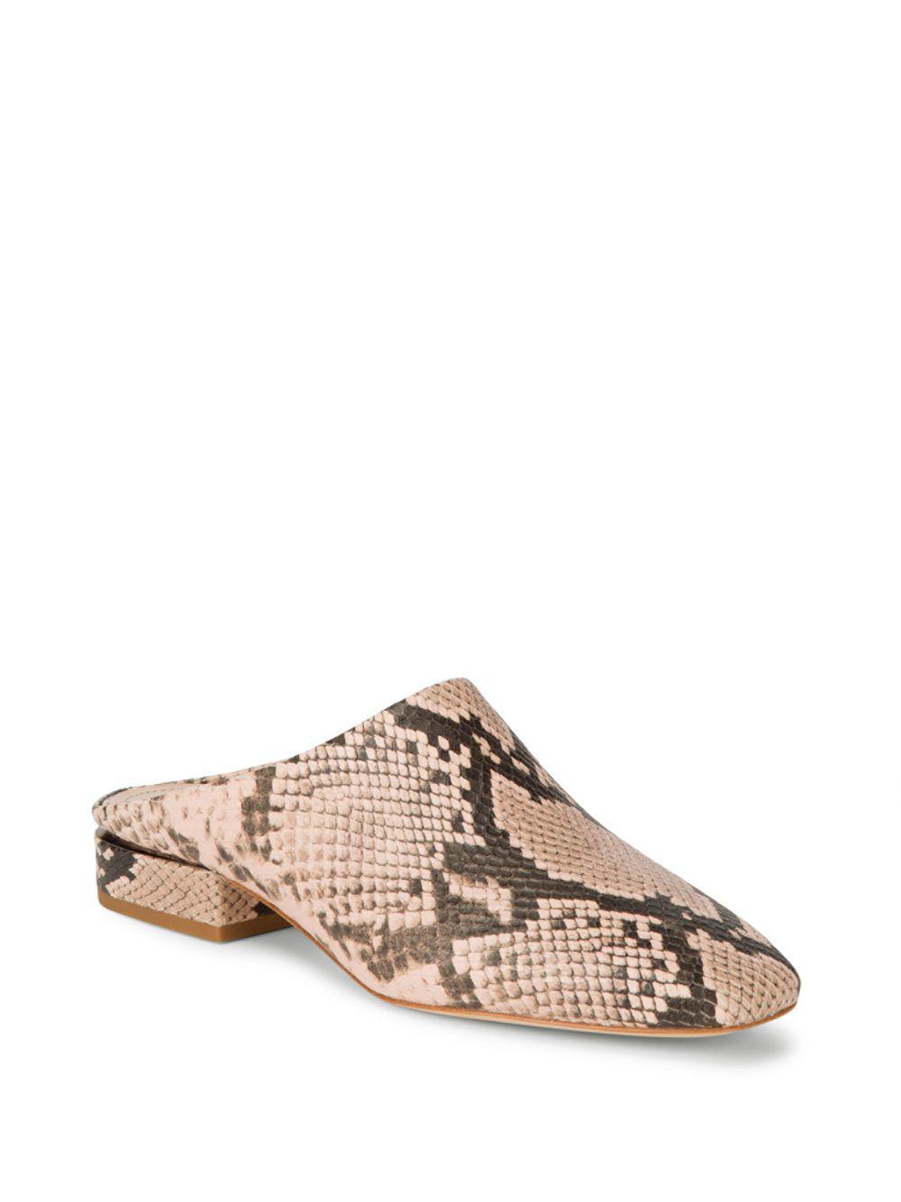 Pour La Victoire Sebina Snake Embossed Leather Slide Flat zNZjF8
