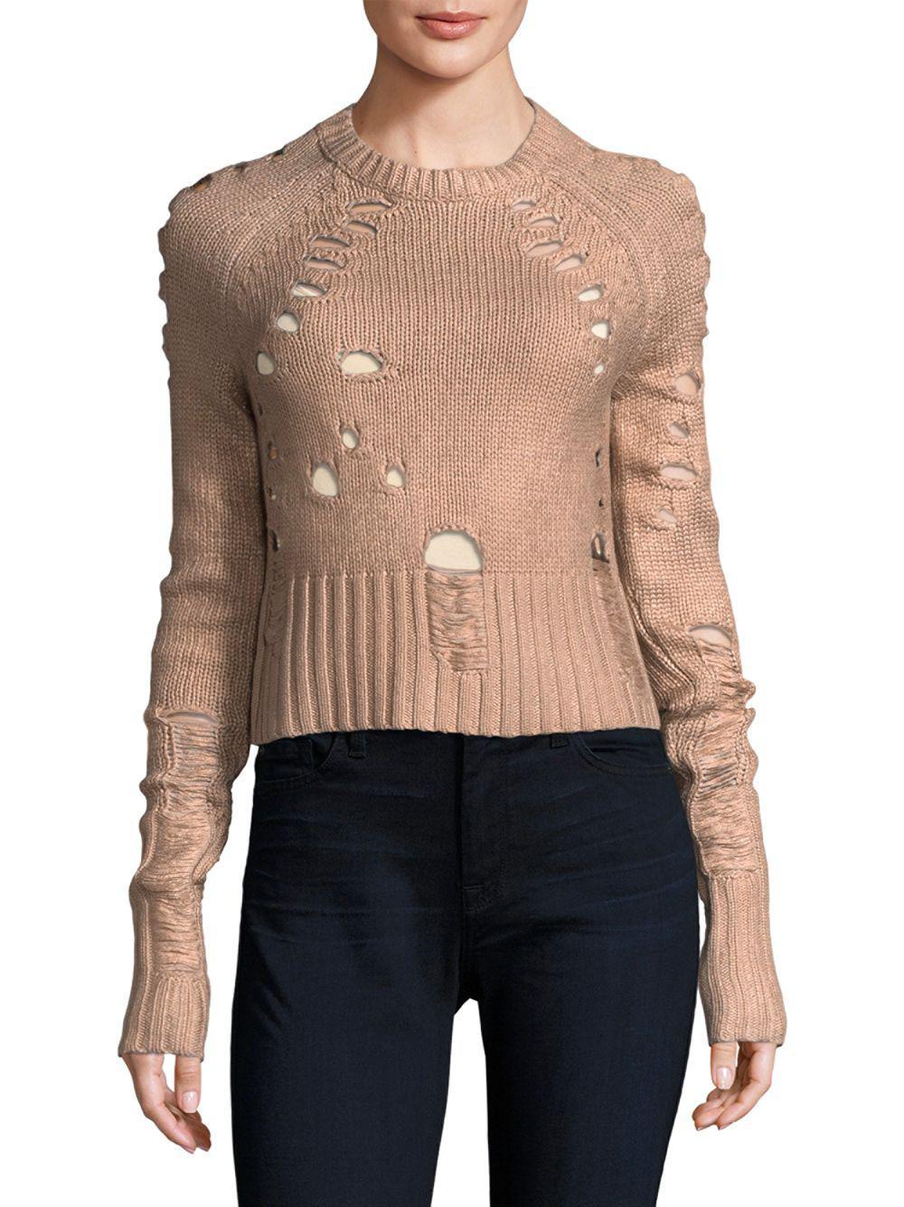 00fb3f6264c1 Zoe Jordan - Multicolor Distressed Foil Wool And Cashmere Sweater - Lyst.  View fullscreen