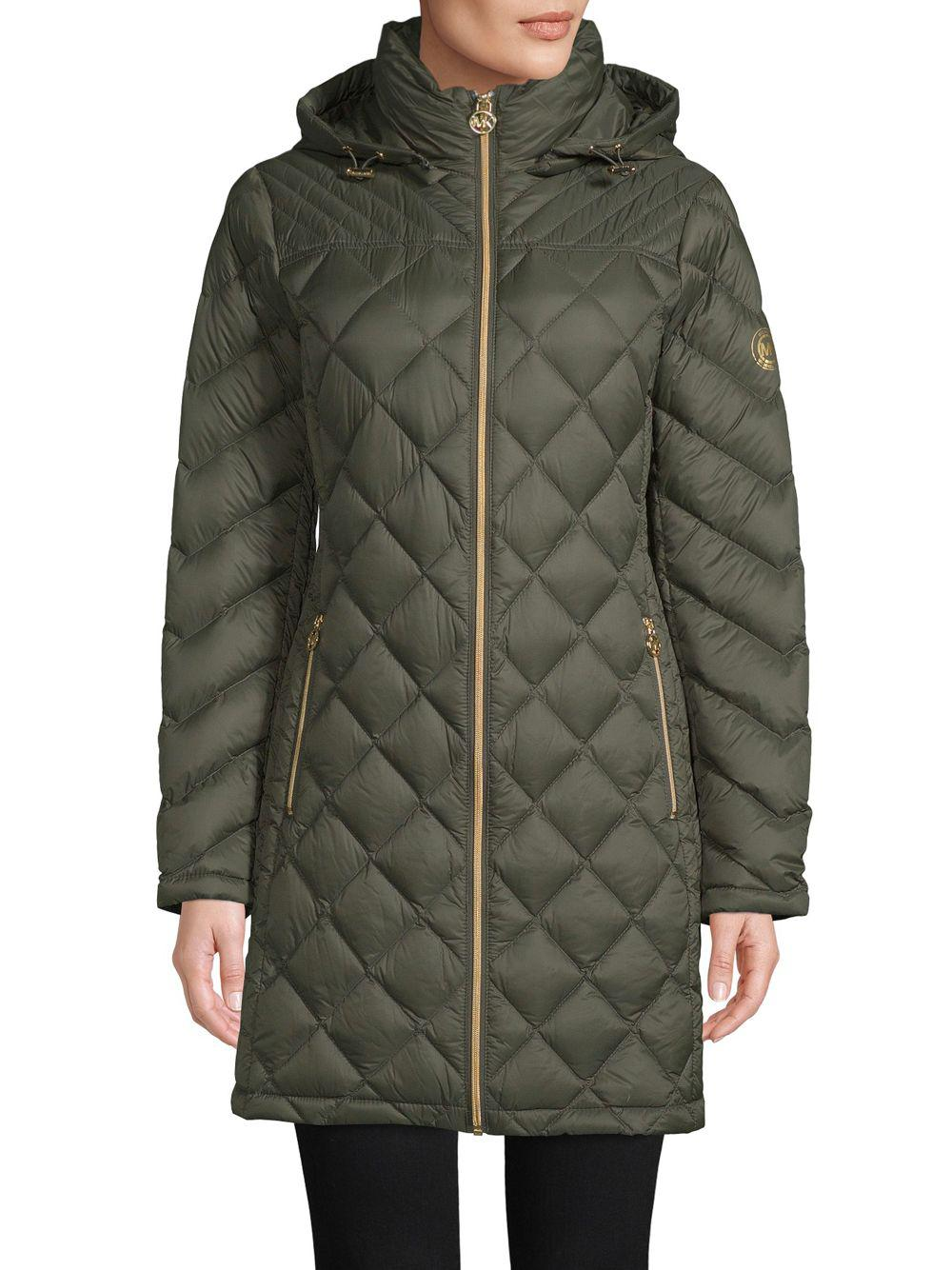 5d642b7cb860 Michael Michael Kors Down-filled Quilted Packable Coat in Green - Lyst