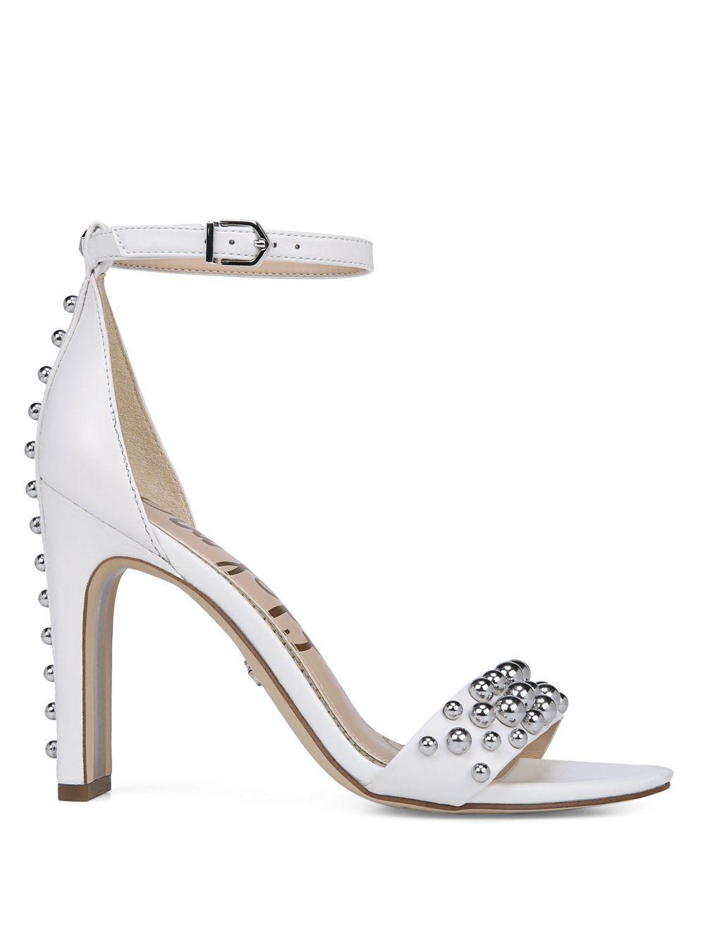 a313f21feedf Sam Edelman - White Yoshi Studded Leather Heels - Lyst. View fullscreen