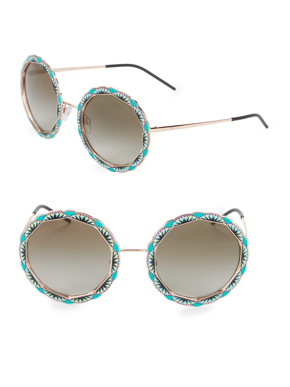 4565ac29682 Emporio Armani Ea2054 55mm Round Sunglasses in Metallic - Lyst