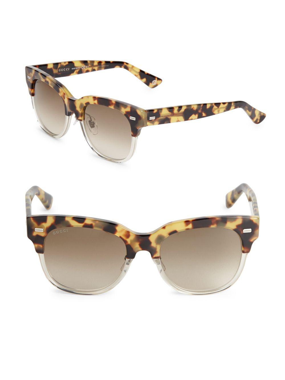 b7bb6ecf364 Lyst - Gucci 52mm Wayfarer Leopard Sunglasses in Brown